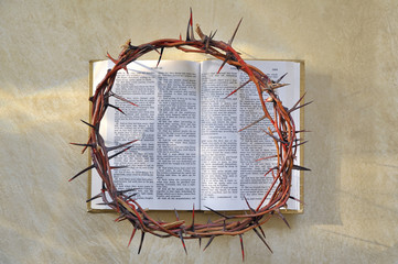 Crown of thorns and bible