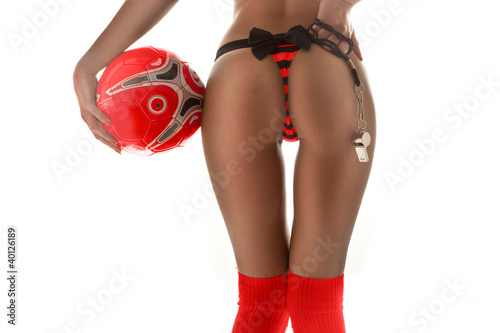 Female buttocks with ball and whistle
