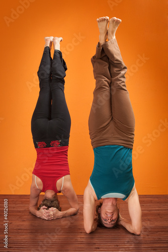 Women In Sirsasana Position