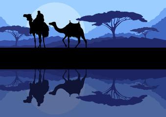 Camel caravan in wild mountain nature landscape background