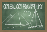 Geography on the classroom blackboard vector background poster