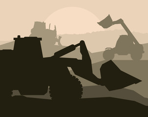 Construction objects with building machinery vector background