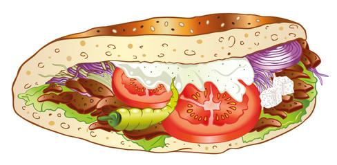 Döner Kebab, Doener, türkische Fleischtasche
