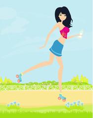 teen girl having fun on roller skates