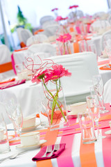 Wedding Tables in Pink and Orange