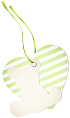 Hangtag Teddy & Heart Stripes Green Bow