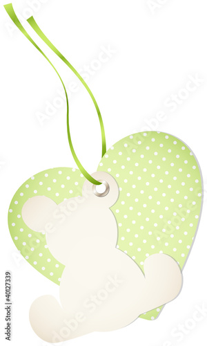 Hangtag Teddy & Heart Dots Green Bow