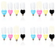 CMYK coloured energy saving light bulbs. Variation concept