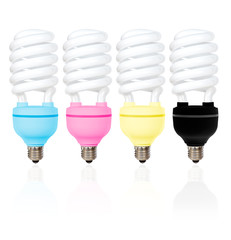 CMYK coloured energy saving light bulbs