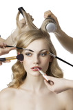 in beauty salon, the girl looks at right - 40128760
