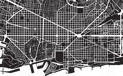 Barcelona black white city plan - street texture