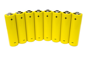Eight batteries isolated on white. Visible polarity signs