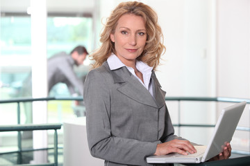 Executive blonde with computer
