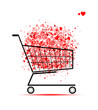 Cloud of hearts  in shopping cart for your design