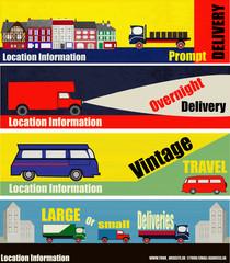 Retro Auto Delivery Web Banners