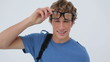 Happy student wearing glasses