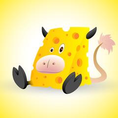 Cheese Cow Cartoon Vector