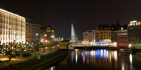 Geneva skyline by night in Switzerland