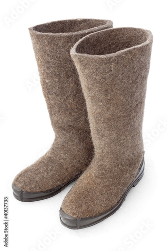 Felt boots with rubber soles