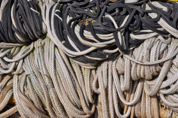 Closeup of a pile of fishing ropes