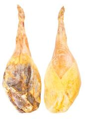 Jamon serrano, whole leg two sides, A Spanish ham isolated over