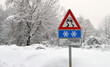 Danger street sign for severe weather conditions