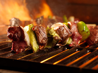 beef shishkababs on the grill