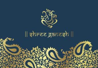 Ganesh, traditional Hindu wedding card design, India
