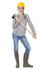 Woman posing with sledge hammer