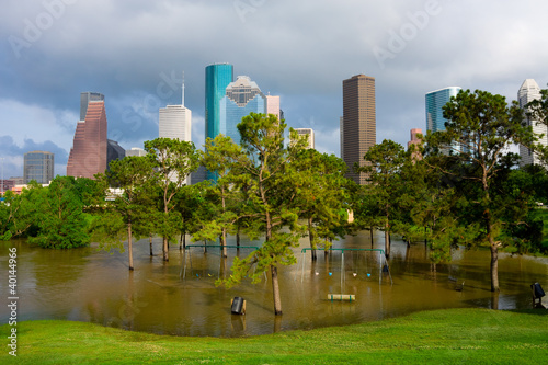 Poster Texas Flooded playground in Houston Texas