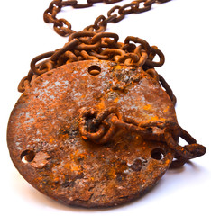 Rusty chain on white