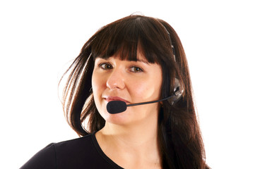 Portrait of a young woman with headset