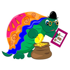 turtle banker counting money.finance illustration