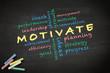 Motivate concept written on a blackboard