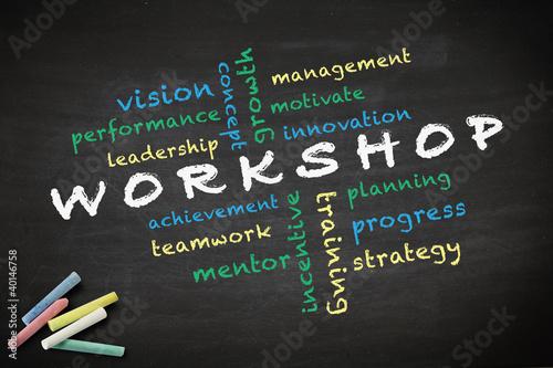 Workshop concept written on blackboard