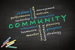 Community concept written with chalk on a blackboard