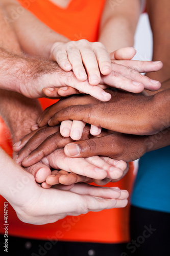 multiracial group people hands together