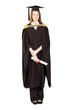 happy female university graduate full length portrait