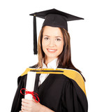 beautiful female graduate portrait isolated on white