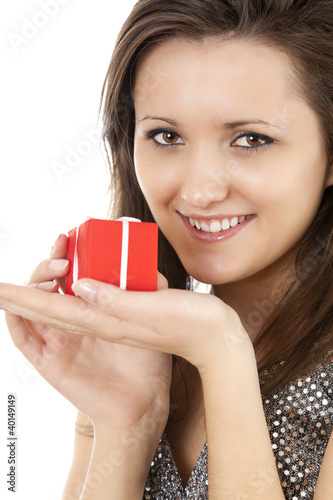 happy young woman with red gift box, white background