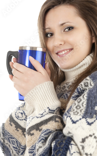smiling teenage girl with mug of coffee, white background