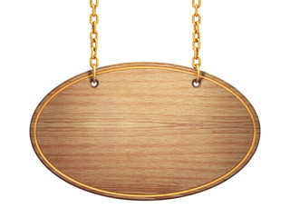 Oval wooden signboard hanging on brass chains