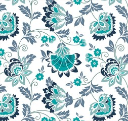water lilies, floral pattern, textile design, India