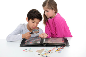 Children stamp collecting