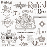 Set of Vintage Royalty Design Elements - High Quality -  in vect poster