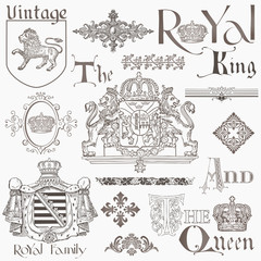 Set of Vintage Royalty Design Elements - High Quality -  in vect