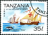"TANZANIA - 1992: shows Ships of Columbus ""Nina"", devoted to poster"