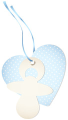 Hangtag Pacifier & Heart Dots Blue Bow