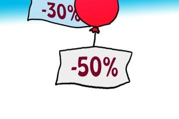 prezzi scontati sollevati da palloncini - animazione