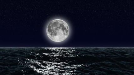 HD - Moon over the ocean